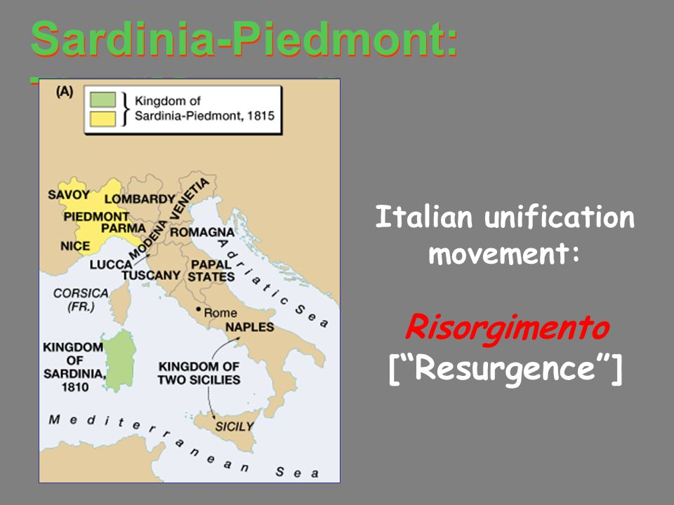 Italian unification movement: Risorgimento [ Resurgence ]
